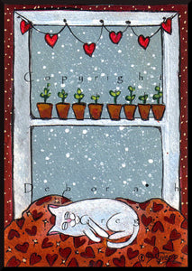 """Solomon Gives Back,"" a tiny Cat Love Valentines Hearts PRINT by Deborah Gregg"