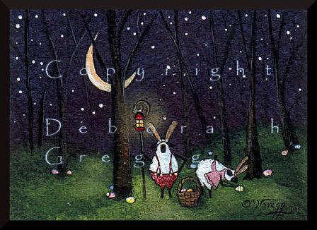 """Bunny Work,"" a tiny Sheep Easter Bunny Spring Moon PRINT by Deborah Gregg"