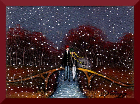 """Meet Me On The Bridge,"" a tiny Love Valentine Anniversary Couple Yellow Braids Snow Fall PRINT by Deborah Gregg"