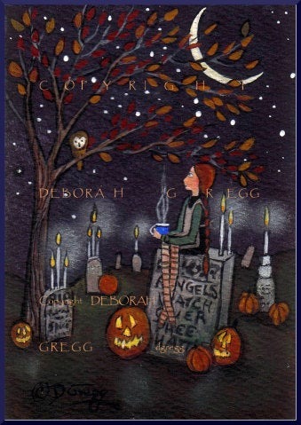 """Visiting With The Ancestors,"" a tiny Graveyard Candles Owl Halloween Pumpkins PRINT by Deborah Gregg"