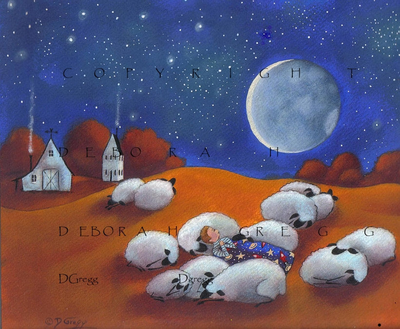 """Sleeping Out Under The Stars,"" (Larger version) A Sheep Moon Autumn Shepherd Nursery Folk Art PRINT by Deborah Gregg"