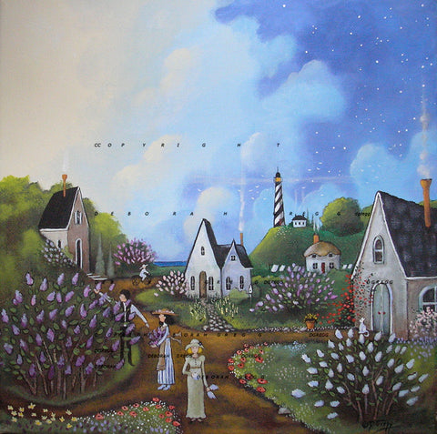 """Lilacs in the Morning Light,"" a spring lighthouse morning flowers neighbors country cottages folk art Print by Deborah Gregg"