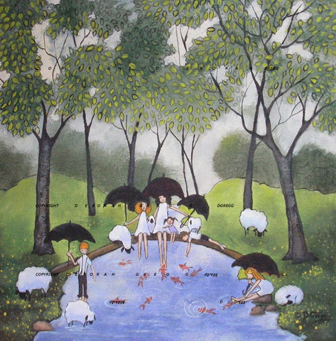 """The Forest Floor On A Rainy Day,"" a Small Summer Rain Sheep PRINT by Deborah Gregg"