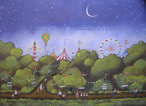 """Summer Night At The Fair,"" a small Country Folk Art Ferris Wheel Hot Air Balloon County Fair PRINT from the original by Deborah Gregg"