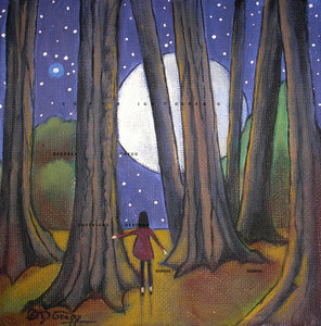 """In The Light,"" a small Woods Moon Autumn Night Print by Deborah Gregg"
