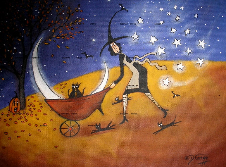 """Oh No She Di'nt,"" a small Folk Art Witch Halloween Black Cat Moon Stars Autumn PRINT by Deborah Gregg"