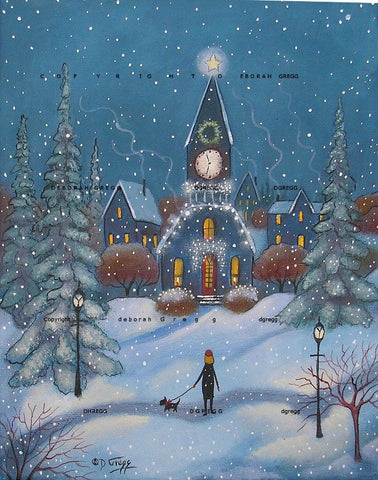 """A Star In The East,"" a small winter Snow Christmas Print by Deborah Gregg"