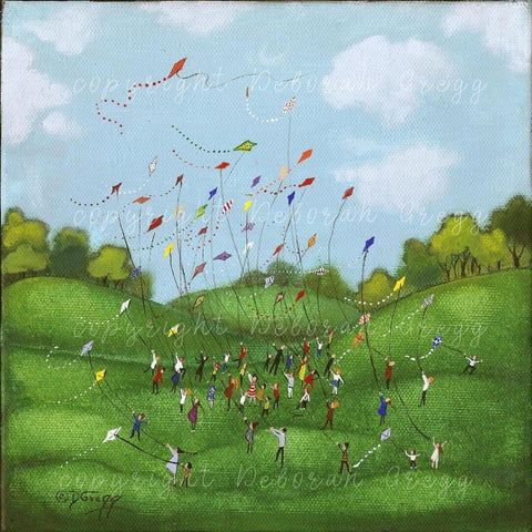 """Loose in the World,"" a Summer Children Flying Kites PRINT by Deborah Gregg"