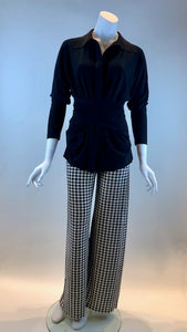 Norma Kamali - Pull On Straight Leg Pants In Houndstooth Print