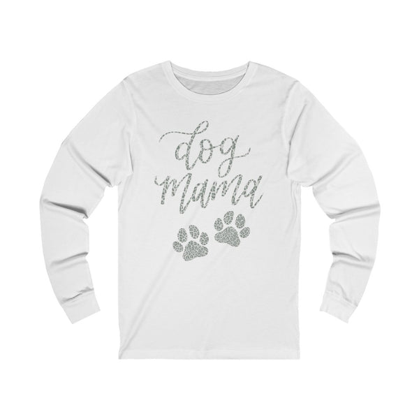 Grey Leopard Dog Mama Long Sleeve Tee