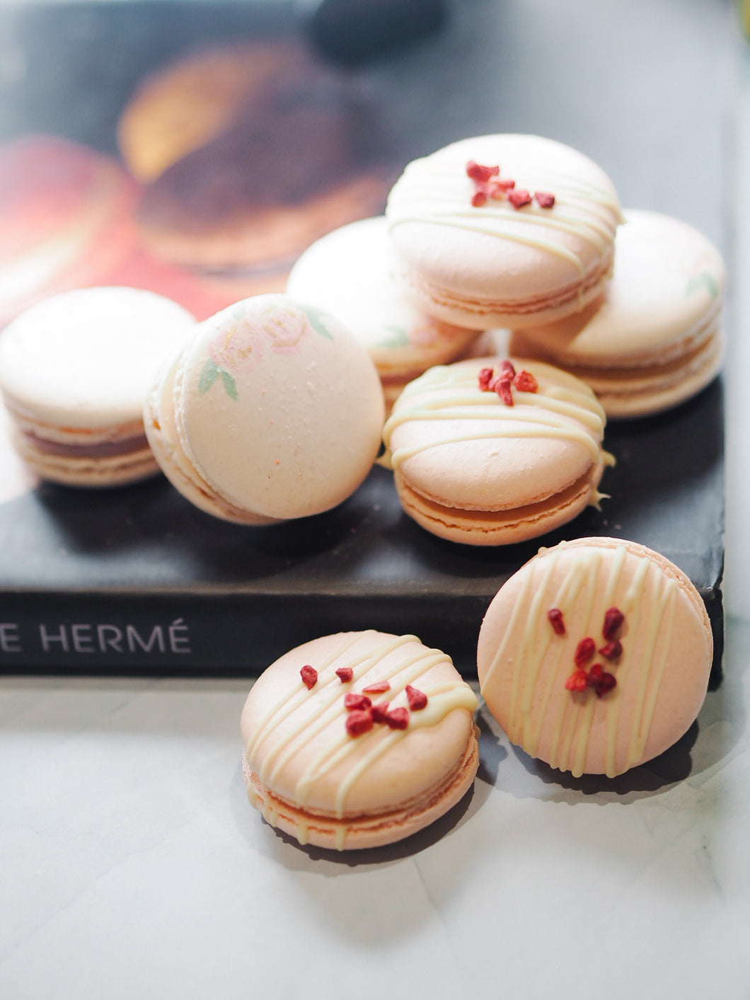 Box of White Chocolate Raspberry French Macarons