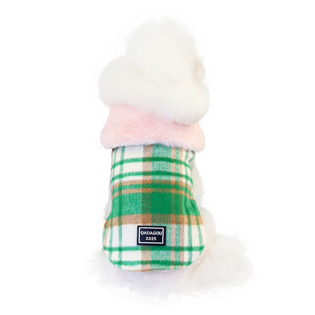 Toby's Designer Wool blend Plaid PeaCoat With Pink Faux Fur Collar