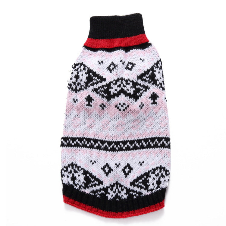 Pet Festive Classic Fair Isle Sweater in Pink and Navy