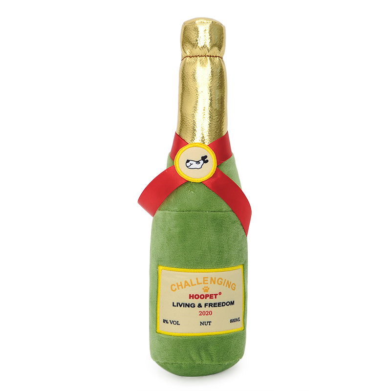 Plush Squeaking Champagne Bottle Dog Toy