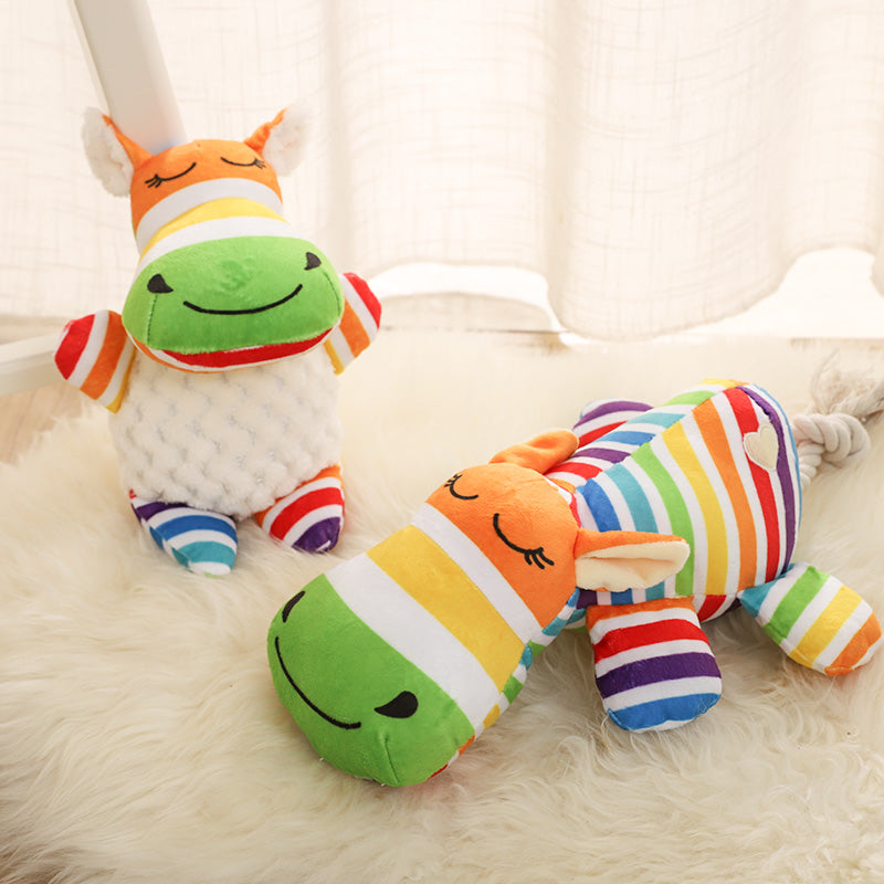 Toby's Rainbow Colorful Stripe Squeakie toy