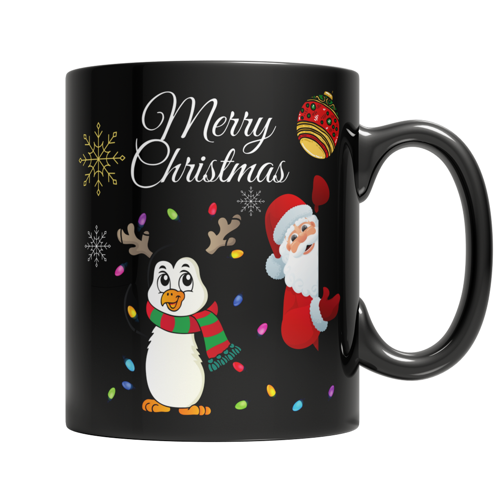 Merry Christmas Custom 11oz Black Mug - Cafè Colada