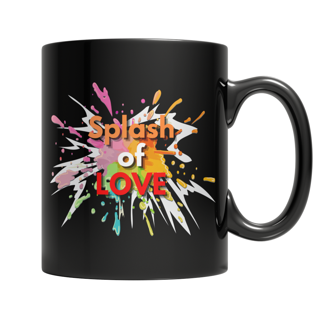 Splash of Love Custom Black Mug - Cafè Colada