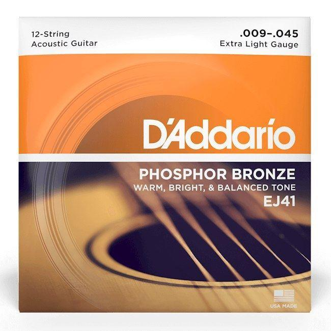 Daddario Acoustic Guitar 12 String Set 09/45 Phosphor Bronze.