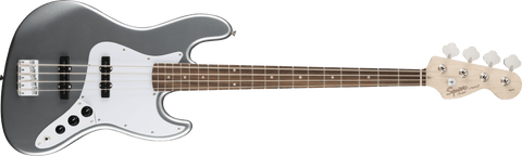 Squier Affinity Series Jazz Bass Laurel Fingerboard in Slick Silver.