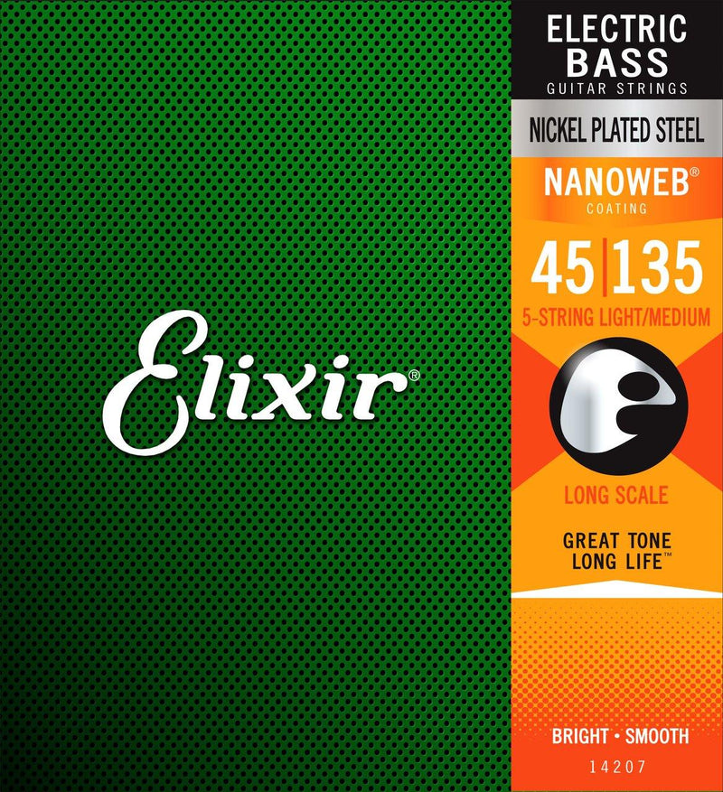 Elixir 14207 Nanoweb Bass Med Med-Light 45-135 5 String Nick.