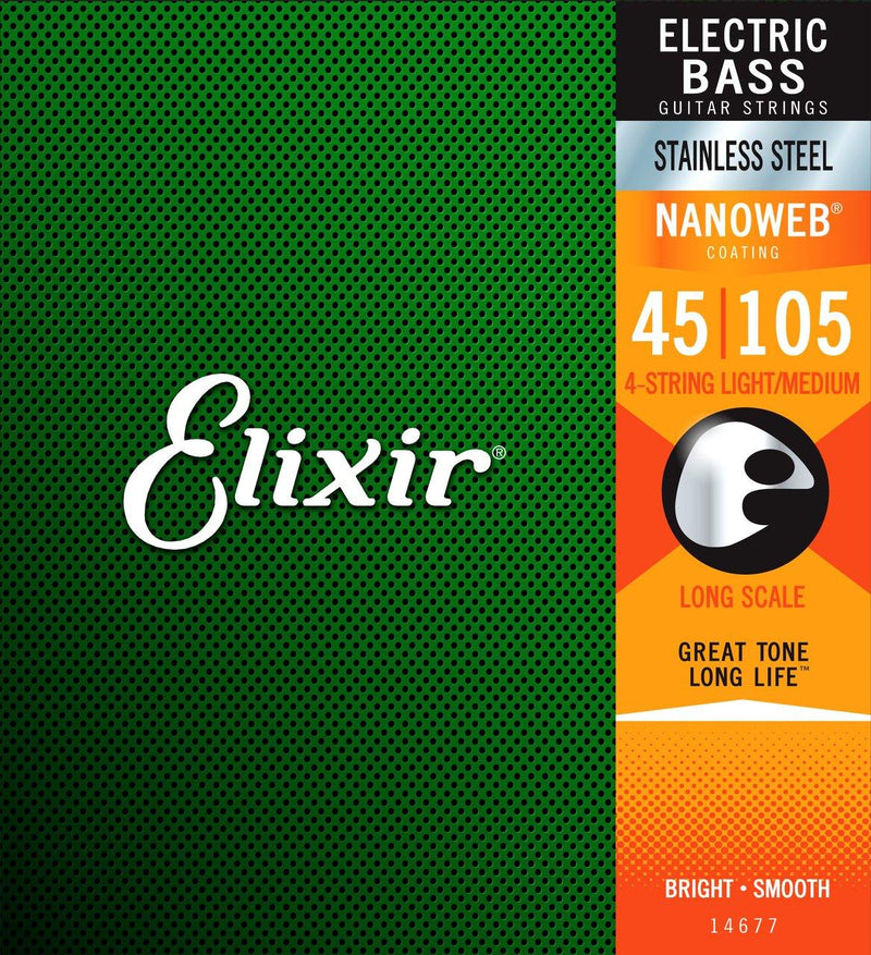 Elixir 14677 Nanoweb Bass  Stainless Steel Medium 45-105.