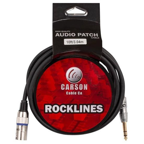 Rocklines 10FT Cable XLR(M) To Straight Jack.
