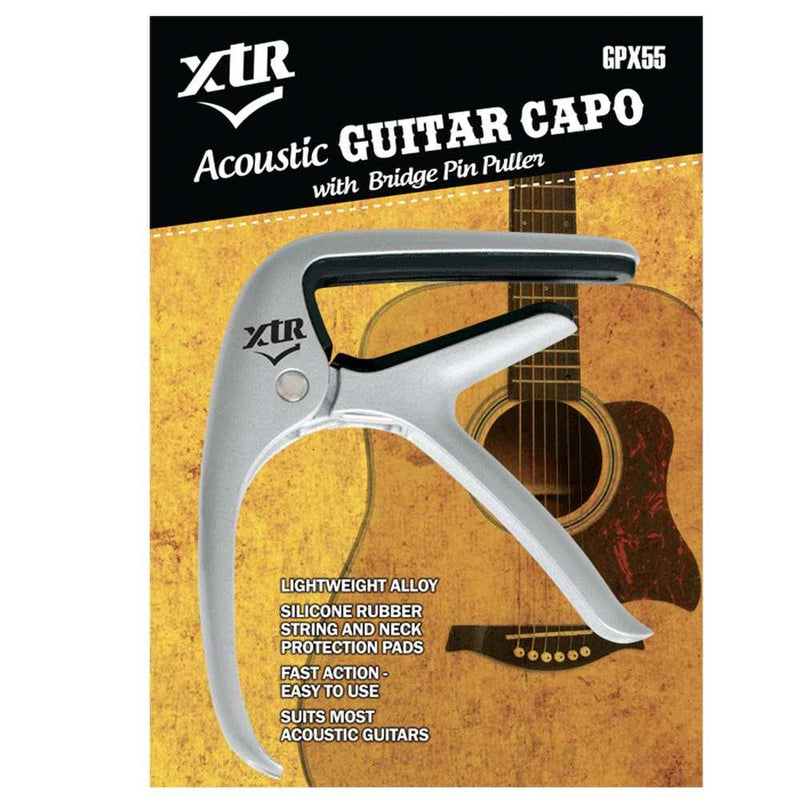 XTR Acoustic Guitar Capo - Silver at Five Star Music 102 Maroondah Highway Ringwood Melbourne Music Guitar Store.