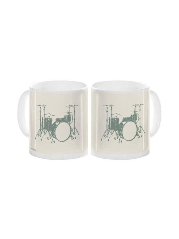 White Mug with Drum Graphic - Five Star Music