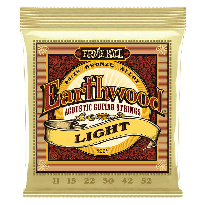 Ernie Ball Earthwood Light 80/20 Bronze Acoustic Guitar Strings, 11-52 Gauge.