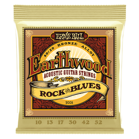 Ernie Ball Earthwood Rock and Blues with Plain G 80/20 Bronze Acoustic Guitar String, 10-52 Gauge