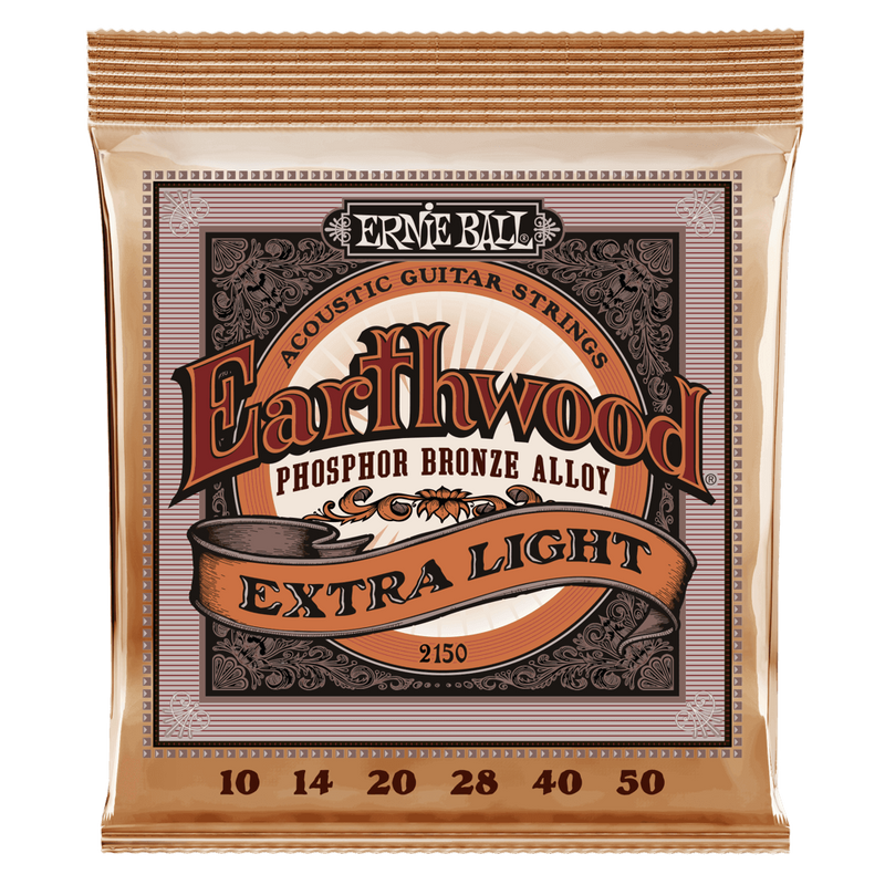 Ernie Ball Earthwood Extra Light Phosphor Bronze Acoustic Guitar Strings, 10-50 Gauge.