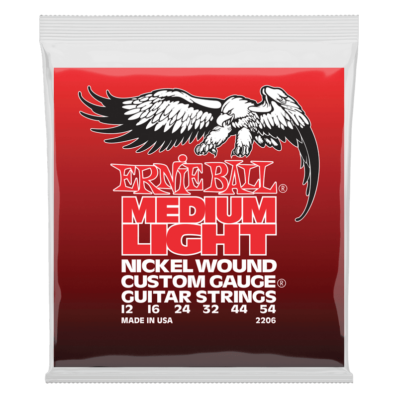 Ernie Ball Medium Light Nickel Wound with wound G Electric Guitar Strings, 12-54 Gauge.