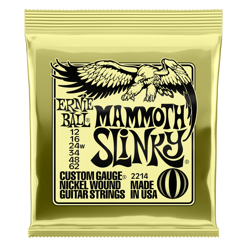 Ernie Ball Mammoth Slinky Nickel Wound Electric Guitar Strings, 12-62 Gauge.