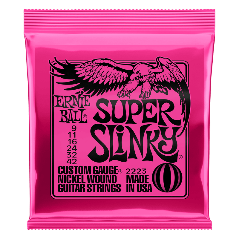 Ernie Ball Super Slinky Nickel Wound Electric Guitar Strings - 9-42 Gauge.