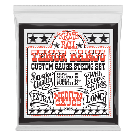 Ernie Ball Medium Loop End Stainless Steel Tenor Banjo Guitar Strings, 10-30 Gauge
