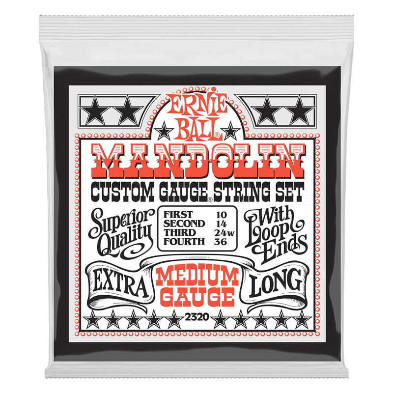 Ernie Ball Medium Loop End Stainless Steel Mandolin Guitar Strings, 10-36 Gauge.