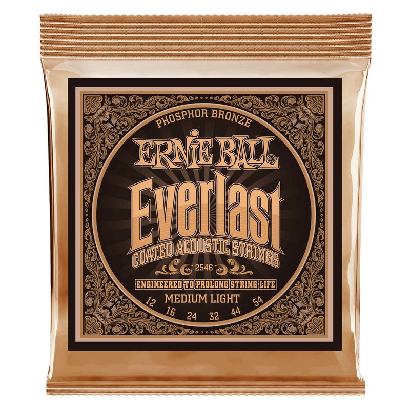 Ernie Ball Everlast Medium Light Coated Phosphor Bronze Acoustic Guitar String, 12-54 Gauge.