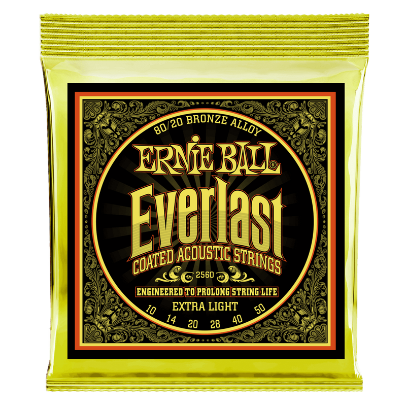 Ernie Ball Everlast Extra Light Coated 80/20 Bronze Acoustic String, 10-50 Gauge.