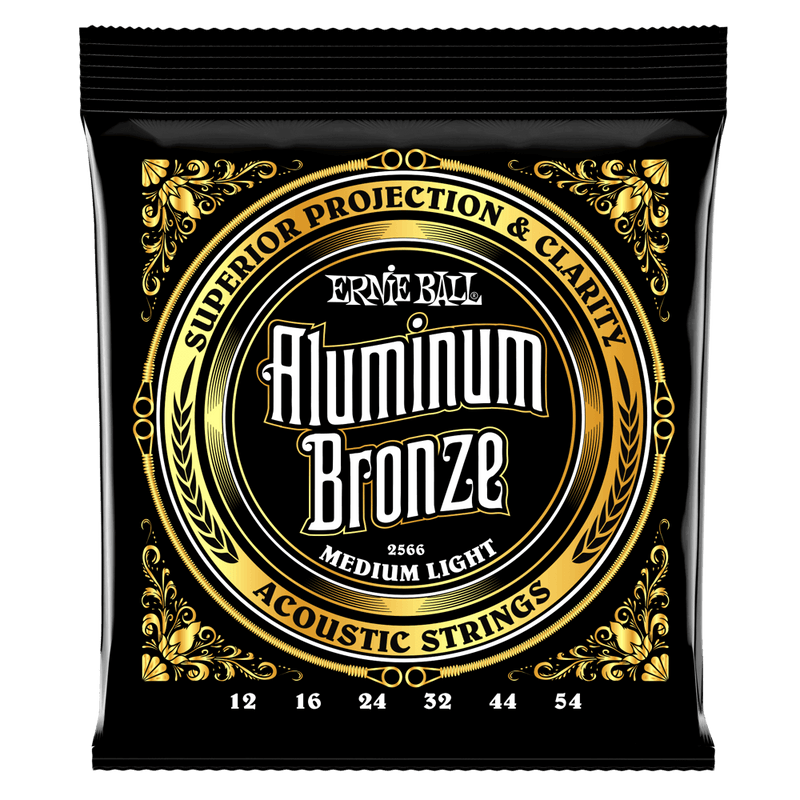 Ernie Ball Medium Light Aluminum Bronze Acoustic Guitar Strings, 12-54 Gauge.
