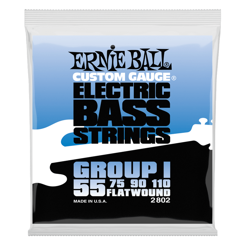 Ernie Ball Flatwound Group I Electric Bass String, 55-110 Gauge.