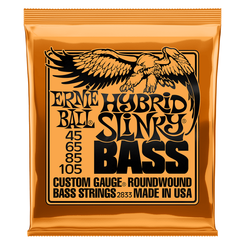 Ernie Ball Hybrid Slinky Nickel Wound Electric Bass Strings, 45-105 Gauge.