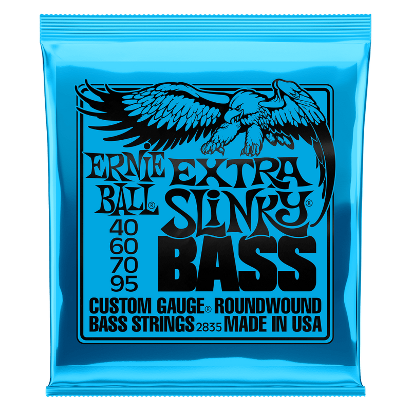 Ernie Ball Extra Slinky Nickel Wound Electric Bass String, 40-95 Gauge.