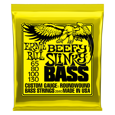 Ernie Ball Beefy Slinky Nickel Wound Electric Bass Strings - 65-130 Gauge