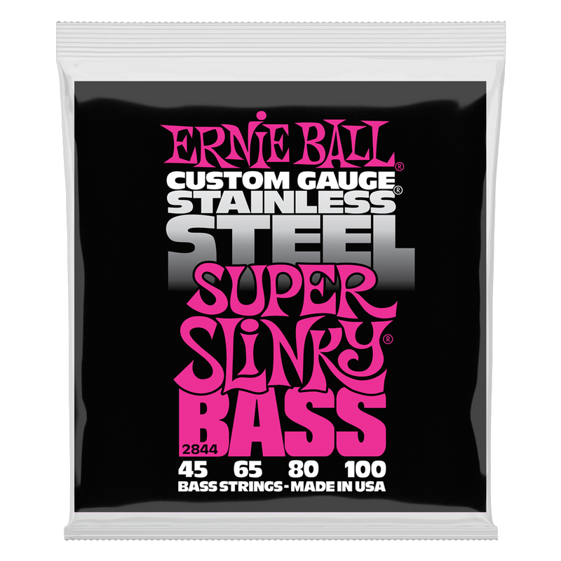 Ernie Ball Super Slinky Stainless Steel Electric Bass Strings - 45-100 Gauge.