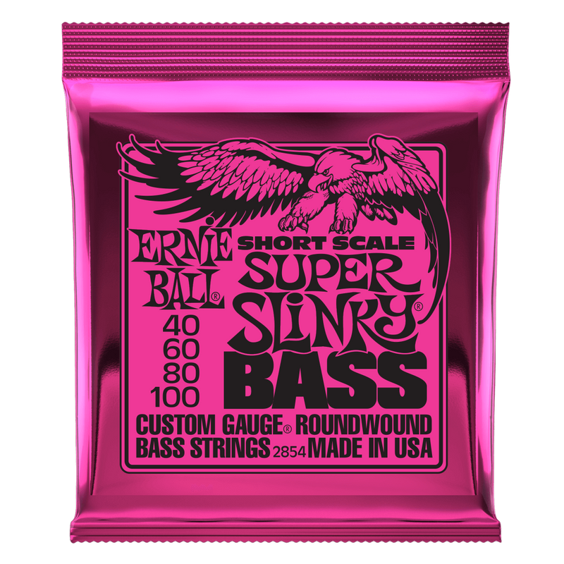 Ernie Ball Super Slinky Nickel Wound Short Scale Bass Strings - 45-100 Gauge.