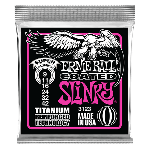 Ernie Ball Super Slinky Coated Titanium RPS Electric Guitar Strings - 9-42 Gauge