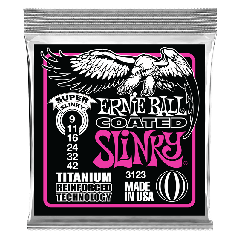 Ernie Ball Super Slinky Coated Titanium RPS Electric Guitar Strings - 9-42 Gauge.