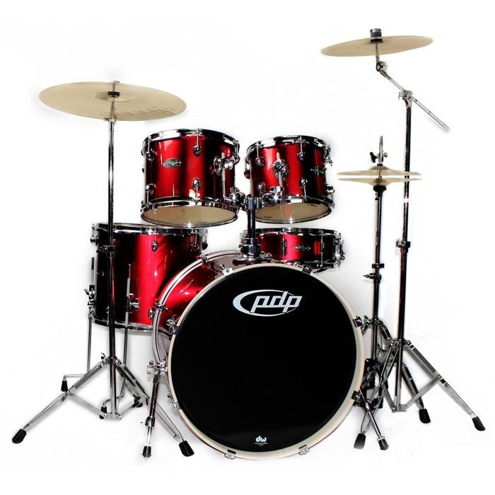 PDP Mainstage 5 Piece Kit Candy Apple Red w/ Hardware, Cymbals & Evans Upgrade Pack.