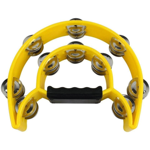 1/2 Moon Tambourine 10 Pair Yellow