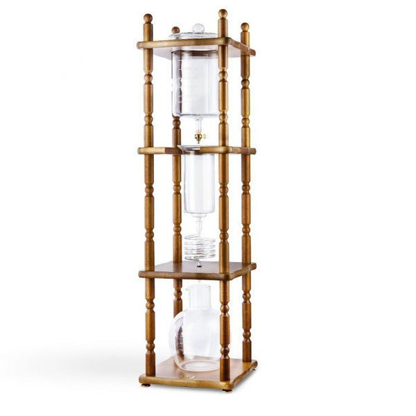 YAMA GLASS 25 CUP COLD DRIP MAKER CURVED BROWN WOOD FRAME - BartechCo